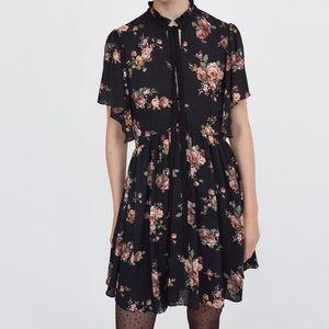 Zara Trendy Floral Mini Dress with Bow